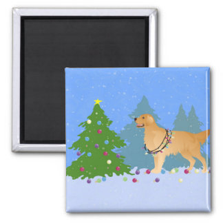 Golden Retriever Decorating Christmas Tree Magnet