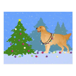 Golden Retriever Decorating Christmas Tree Postcard