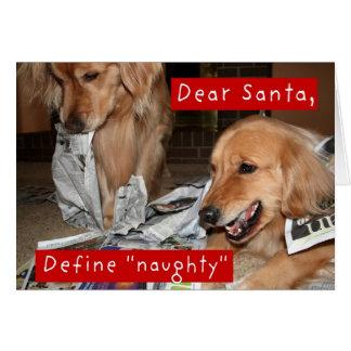 Golden Retriever Define Naughty Christmas Greeting Card