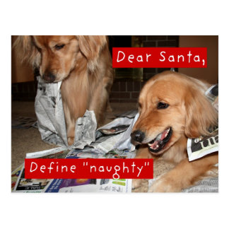 Golden Retriever Define Naughty Christmas Postcard