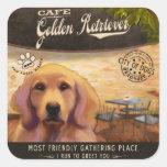 Golden retriever del café pegatina cuadradas personalizadas