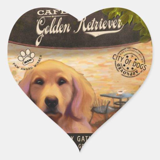 Golden retriever del café pegatina corazon