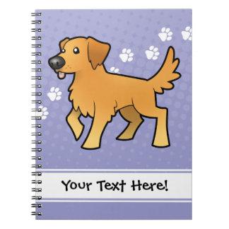 Golden retriever del dibujo animado cuadernos