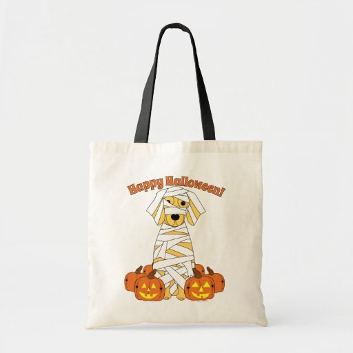 Golden retriever del feliz Halloween Bolsas Lienzo
