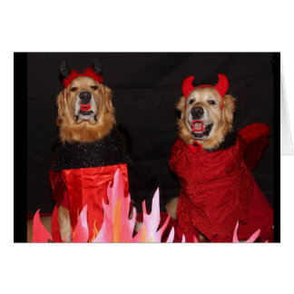 Golden Retriever Devilish Halloween Card