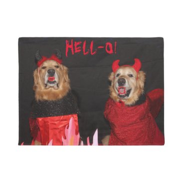 Halloween Themed Golden Retriever Devils Hell-O Doormat