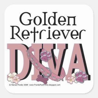 Golden Retriever DIVA Square Sticker