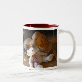 Golden retriever dog and tedeibea Two-Tone coffee mug