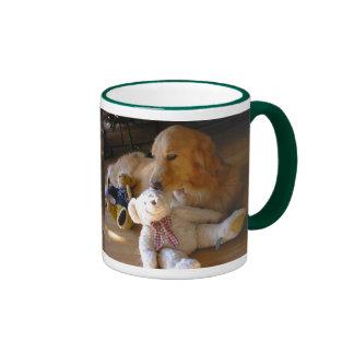 Golden retriever dog and tedeibea ringer coffee mug