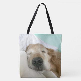 Golden Retriever Dog Asleep on Pillow Tote Bag