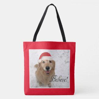 Golden Retriever Dog Believe Christmas Tote Bag