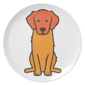 Golden Retriever Dog Cartoon Dinner Plates