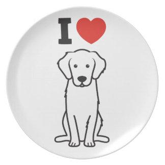 Golden Retriever Dog Cartoon Party Plate