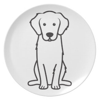 Golden Retriever Dog Cartoon Plates