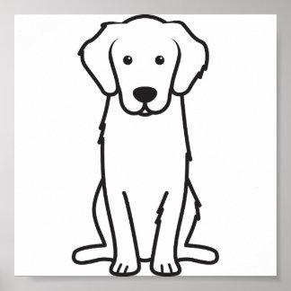 Golden Retriever Dog Cartoon Poster