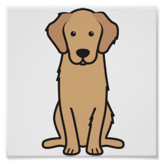 Golden Retriever Dog Cartoon Poster