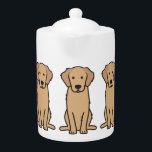 """Golden Retriever Dog Cartoon Teapot<br><div class=""""desc"""">Golden Retriever. Design by DogBreedCartoon</div>"""