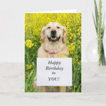 Golden retriever dog cute custom birthday card
