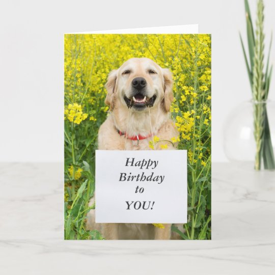 Golden Retriever Dog Cute Custom Birthday Card Zazzle