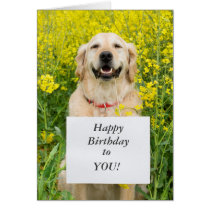 Golden retriever dog cute custom birthday card