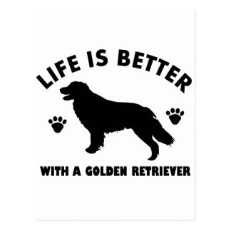 golden-retriever dog design postcard