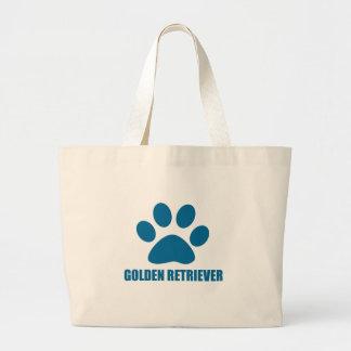 GOLDEN RETRIEVER DOG DESIGNS LARGE TOTE BAG