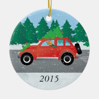 Golden Retriever Dog Driving a Car - Tree on Top Ceramic Ornament