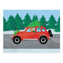 Golden Retriever Dog Driving a Car - Tree on Top Postcard