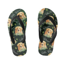 Golden Retriever Dog, Eucalyptus Leaves, Paw Print Kid's Flip Flops