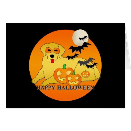Golden Retriever Dog Halloween Greeting Cards