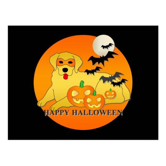 Golden Retriever Dog Halloween Postcard