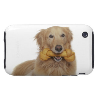Golden Retriever Dog holding bone in mouth iPhone 3 Tough Case