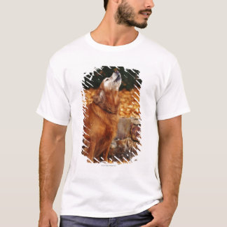 Golden retriever dog howling on path T-Shirt