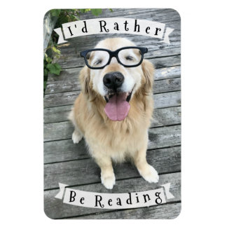 Golden Retriever Dog I'd Rather Be Reading Magnet