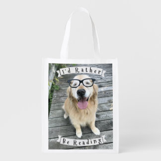 Golden Retriever Dog I'd Rather Be Reading Reusable Grocery Bag