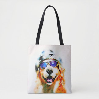 Golden Retriever Dog in Hat and Sunglasses Tote Bag