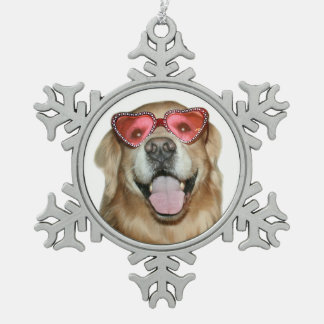 Golden Retriever Dog in Heart Sunglasses Holiday Snowflake Pewter Christmas Ornament