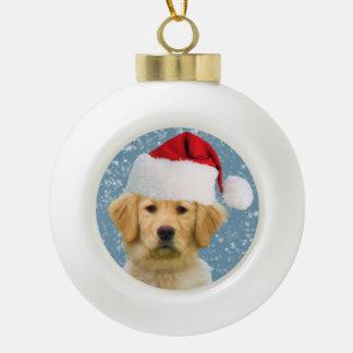 Golden Retriever Dog in Santa Hat Ceramic Ball Christmas Ornament