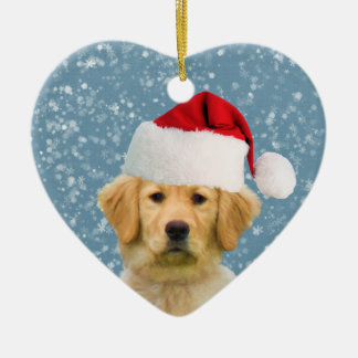 Golden Retriever Dog in Santa Hat Ceramic Ornament