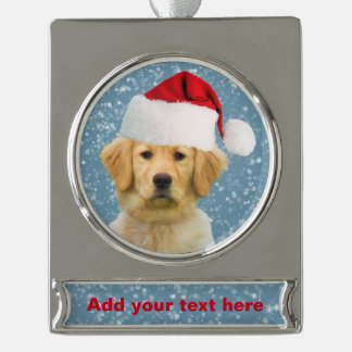 Golden Retriever Dog in Santa Hat Silver Plated Banner Ornament