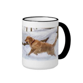 Golden Retriever Dog in Snow Mug