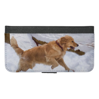 Golden Retriever Dog in the Snow iPhone 6/6s Plus Wallet Case