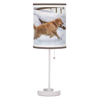 Golden Retriever Dog in the Snow Desk Lamps
