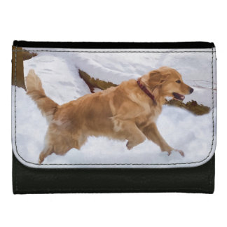 Golden Retriever Dog in the Snow Leather Wallet For Women