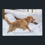 """Golden Retriever Dog in the Snow Placemat<br><div class=""""desc"""">A beautiful golden retriever dog running through the snow makes this a terrific pet lover's image.   Customize the image by adding your own name,  monogram,  or caption.</div>"""