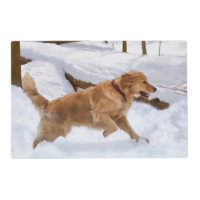 Golden Retriever Dog in the Snow Placemat