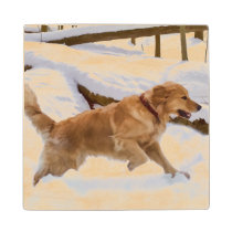 Golden Retriever Dog in the Snow Wood Coaster