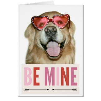 Golden Retriever Dog in Valentines Day Glasses Card