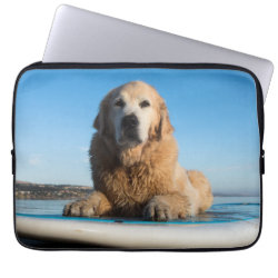 Golden Retriever Dog  Laying On A Paddle Board Computer Sleeve