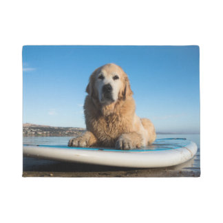 Golden Retriever Dog  Laying On A Paddle Board Doormat
